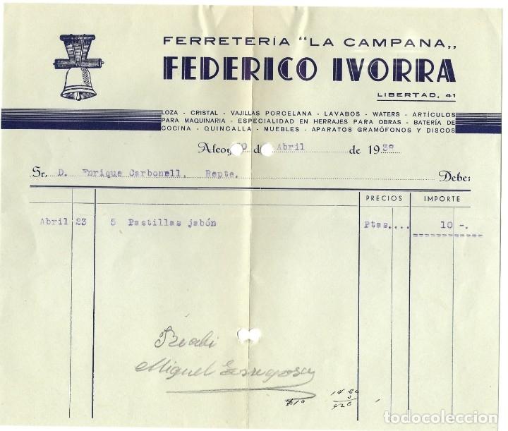 Facturas antiguas: GUERRA CIVIL ALCOY DOS FACTURAS FERRETERÍA LA CAMPANA FEDERICO IVORRA FEBRERO 1937 Y ABRIL 1938 - Foto 2 - 180123325