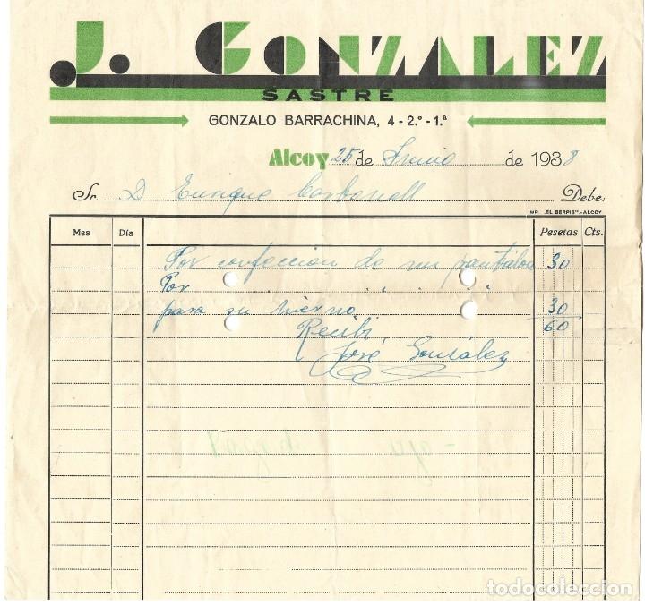 GUERRA CIVIL ALCOY J. GONZÁLEZ SASTRE - FECHADA 25 JUNIO 1938 (Coleccionismo - Documentos - Facturas Antiguas)