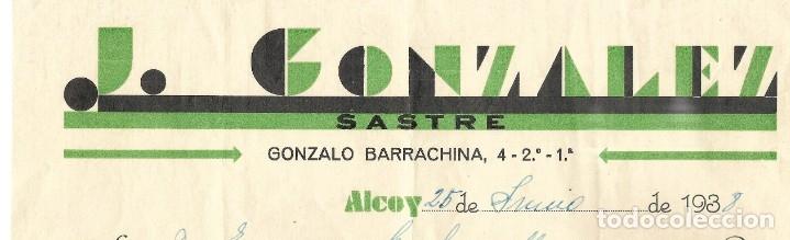 Facturas antiguas: GUERRA CIVIL ALCOY J. GONZÁLEZ SASTRE - FECHADA 25 JUNIO 1938 - Foto 2 - 180123477