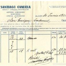 Facturas antiguas: GUERRA CIVIL ALCOY - SANTIAGO CANDELA SOSAS Y JABONES INDUSTRIALES - FECHADA 10 JUNIO 1937. Lote 180123588