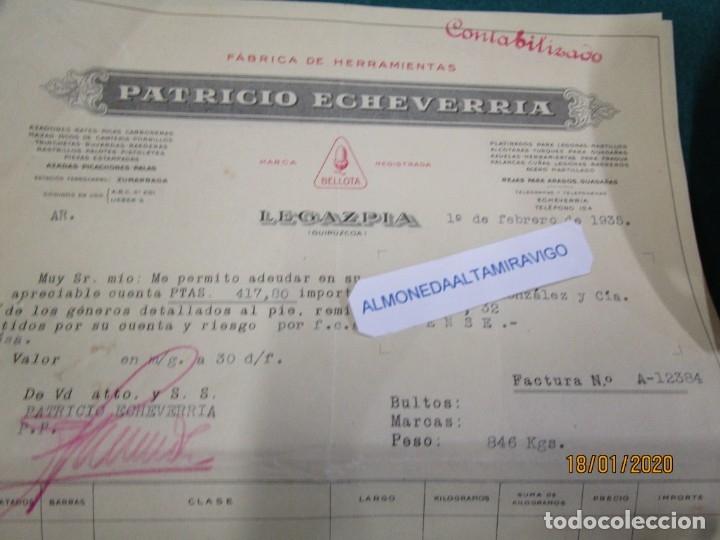 Facturas antiguas: LOTE 51 FACTURAS DE PATRICIO ECHEVERRIA - LEGAZPIA GUIPUZCOA, AÑO 1935 HERRAMIENTAS BELLOTA + INFO - Foto 3 - 180125918