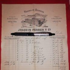 Facturas antiguas: 1887 FACTURA SEDERIAS JOAQUIN FERRER BARCELONA. Lote 180193945