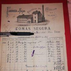Facturas antiguas: 1884 FACTURA FABRICA TOMAS SEGURA CASTELLON. Lote 180196273