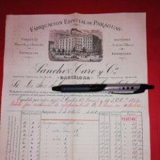 Facturas antiguas: 1886 FABRICA PARAGUAS SANCHEZ CARO BARCELONA. Lote 180201583