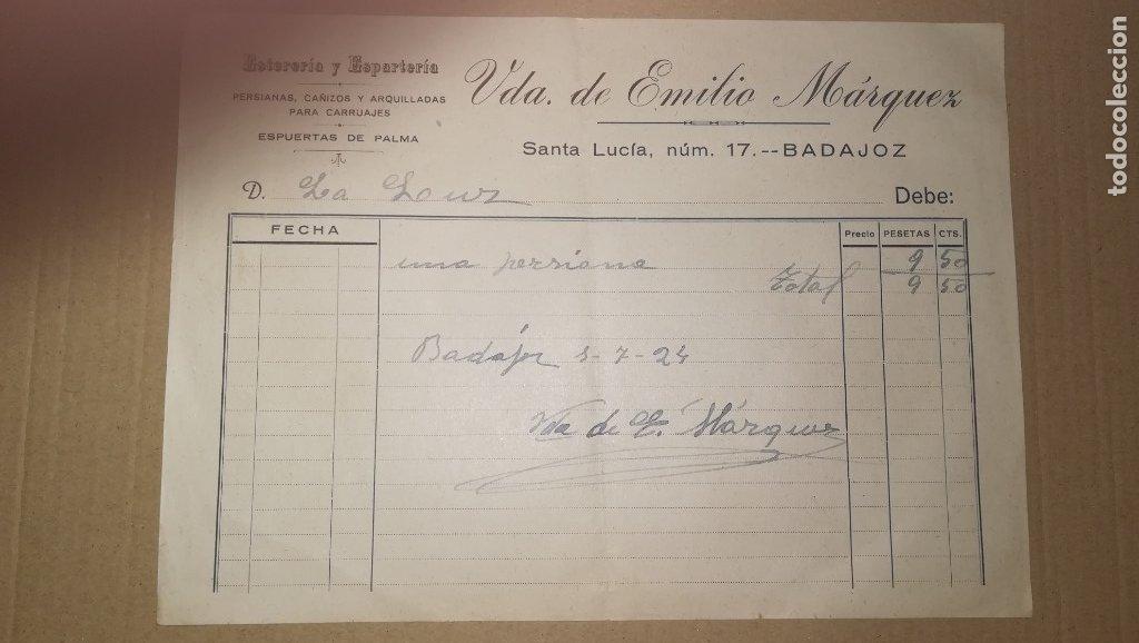 ANTIGUA FACTURA ESTERERIA Y ESPARTERIA, VIUDA DE EMILIO MARQUEZ, BADAJOZ ,AÑO 1924 (Coleccionismo - Documentos - Facturas Antiguas)