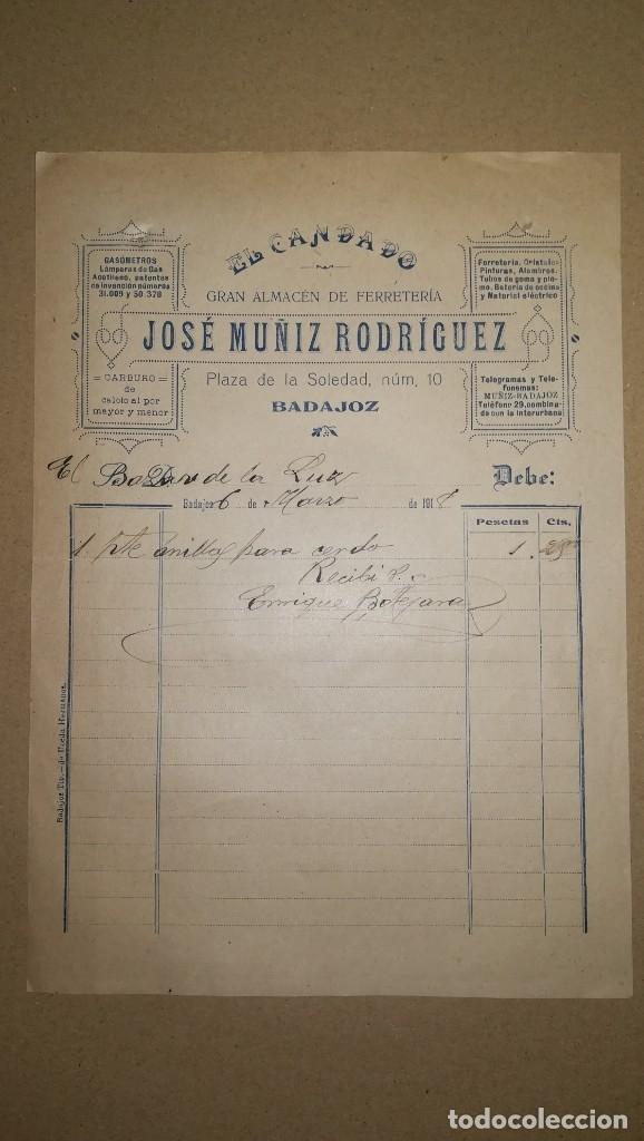 ANTIGUA FACTURA ALMACEN EL CANDADO DE JUAN MUÑIZ RODRIGUEZ, BADAJOZ ,AÑO 1918 (Coleccionismo - Documentos - Facturas Antiguas)