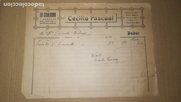ANTIGUA FACTURA GENEROS DEL REINO LA CAMERANA, CECILIO PASCUAL, BADAJOZ ,AÑOS 20 (Coleccionismo - Documentos - Facturas Antiguas)