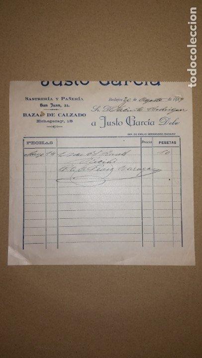 ANTIGUA FACTURA SASTRERIA Y PAÑERIA JUSTO GARCIA, BADAJOZ ,AÑO 1919 (Coleccionismo - Documentos - Facturas Antiguas)