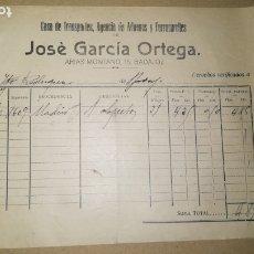 Facturas antiguas: ANTIGUA FACTURA AGENCIA DE ADUANAS Y FERROCARRILES JOSE GARCIA ORTEGA, BADAJOZ ,AÑO 1917. Lote 180345962