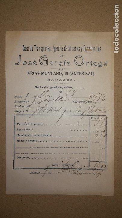 ANTIGUA FACTURA AGENCIA DE ADUANAS Y FERROCARRILES JOSE GARCIA ORTEGA, BADAJOZ ,AÑO 1914 (Coleccionismo - Documentos - Facturas Antiguas)