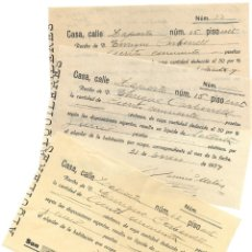 Facturas antiguas: GUERRA CIVIL ALCOY (ALICANTE) - LOTE 3 RECIBOS ALQUILER HABITACIÓN A UN COMISIONISTA AÑO 1937. Lote 180991810