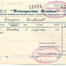 Facturas antiguas: GUERRA CIVIL ALCOY (ALICANTE) - RECIBO TRANSPORTES BROTÓNS FECHADA 1 ENERO 1937 - UGT-AIT. Lote 180992432