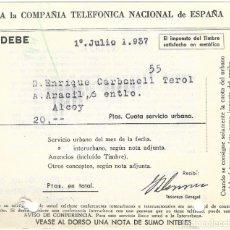 Facturas antiguas: GUERRA CIVIL ALCOY (ALICANTE) - RECIBO COMPAÑÍA TELEFÓNICA NACIONAL DE ESPAÑA 1 JULIO 1937. Lote 181002555