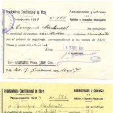 Facturas antiguas: ALCOY (ALICANTE) - 2 RECIBOS AYUNTAMIENTO CONSTITUCIONAL DE ALCOY 7 SEPTIEMBRE 1939. Lote 181005176