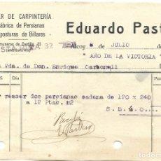 Facturas antiguas: ALCOY (ALICANTE) - RECIBO EDUARDO PASTOR TALLER DE CARPINTERÍA Y FÁBRICA PERSIANAS - 8 JULIO 1939. Lote 181005491