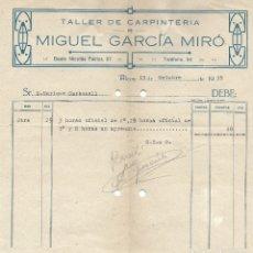 Facturas antiguas: ALCOY (ALICANTE) - TALLER DE CARPINTERÍA MIGUEL GARCÍA MIRA - FECHADA 13 OCTUBRE 1939. Lote 181005717
