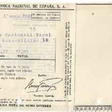 Facturas antiguas: ALCOY (ALICANTE) - RECIBO COMPAÑÍA TELEFÓNICA NACIONAL DE ESPAÑA FECHADO 1 MARZO 1942. Lote 181006063
