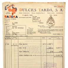 Facturas antiguas: FACTURA DULCES TARDÁ S. A. CHICLE HINCHABLE EMIFEL BAZOKA. BARCELONA 1956. Lote 182031686
