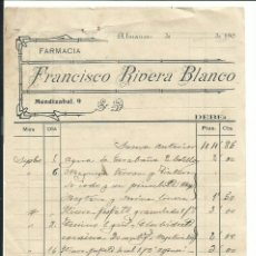 Facturas antiguas: ALMANSA ALBACETE C. 1900 FACTURA DE FARMACIA FRANCISCO RIVERA BLANCO. Lote 182155091