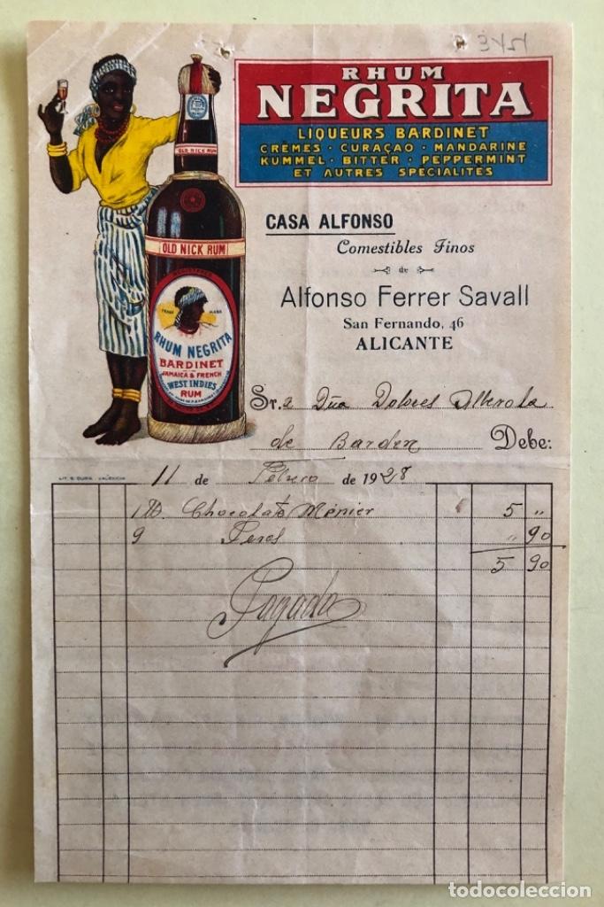 FACTURA- RHUM- RON- NEGRITA- CASA ALFONSO- ALICANTE 1.928 (Coleccionismo - Documentos - Facturas Antiguas)