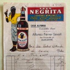 Factures anciennes: FACTURA- RHUM- RON- NEGRITA- CASA ALFONSO- ALICANTE 1.928. Lote 182382173