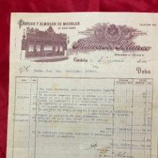 Facturas antiguas: ANTIGUA FACTURA FABRICA Y ALMACEN DE MUEBLES, FRANCISCO BLANCO, CORDOBA 1917. Lote 182525820