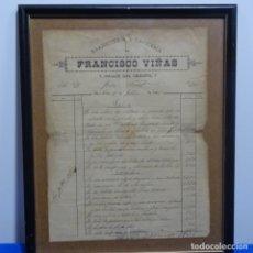 Facturas antiguas: ALBARÁN DE COMPRA EBANISTERÍA FRANCISCO VIÑAS.PASAJE DEL CRÉDITO 7 BARCELONA.1888.. Lote 182546093