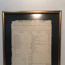 Facturas antiguas: GRAN TEATRO DEL LICEO, INGRESOS Y GASTOS DE UNA FUNCION, 1872, ORIGINAL ENMARCADO.. Lote 182859281