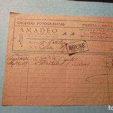 Facturas antiguas: FOTOGRAFIA / BARCELONA - FACTURA GALERIAS FOTOGRFICAS AMADEO 1921 C. RAMBLA DE CANALETAS 15 PELAYO . Lote 183004831