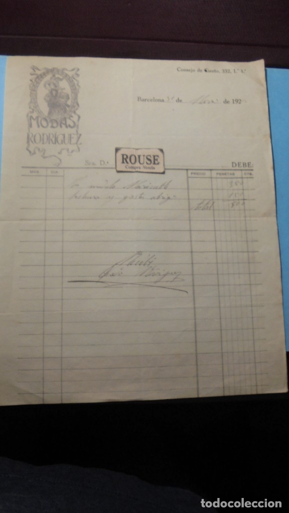 ANTIGUA FACTURA 1922 MODAS PEDRO RODRIGUEZ C. CONSEJO DE CIENTO 332 - 27X21 CM. FIRMADA POR EL (Coleccionismo - Documentos - Facturas Antiguas)
