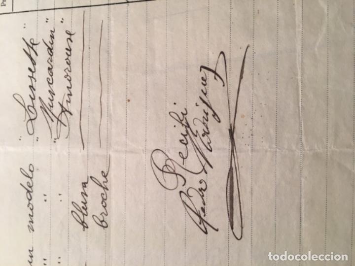 Facturas antiguas: ANTIGUA FACTURA 1922 MODAS PEDRO RODRIGUEZ C. LAURIA 77-79 - 27X21 CM. FIRMADA POR EL MODISTO - Foto 2 - 183176962