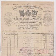 Facturas antiguas: FACTURA. ENRIQUE GARCÍA PASCUAL, PASTAS FINAS PARA SOPA. MADRID, 1892. Lote 183336852
