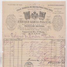 Facturas antiguas: FACTURA. ENRIQUE GARCÍA PASCUAL, PASTAS FINAS PARA SOPA. MADRID, 1892. Lote 183337075