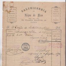 Facturas antiguas: FACTURA. SALCHICHERÍA DE HIJOS DE RICO. PLAZA MAYOR, 18. MADRID, 1892. Lote 183337346