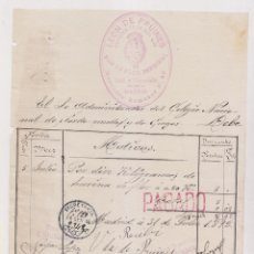 Facturas antiguas: FACTURA. LEON DE PRUINES. PAN DE FLOR ESPECIAL. CAFÉ Y CHOCOLATE. MESONERO ROMANOS, 40. MADRID, 1892. Lote 183337753