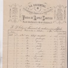 Facturas antiguas: FACTURA. LA ORIENTAL. ULTRAMARINOS Y FÁBRICA DE CHOCOLATE. VIUDA DE LÓPEZ SANTISO. MADRID, 1890. Lote 183338081