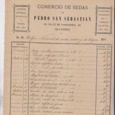Facturas antiguas: FACTURA. COMERCIO DE SEDAS DE PEDRO SAN SEBASTIÁN. FUENCARRAL, 56. MADRID, 1892.. Lote 183338345