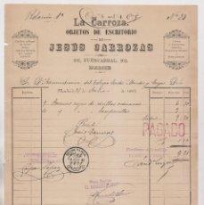 Facturas antiguas: FACTURA. LA CARROZA. OBJETOS DE ESCRITORIO DE JESÚS CARROZAS. FUENCARRAL, 102. MADRID, 1892. Lote 183339158