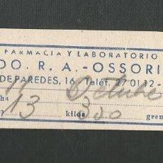 Facturas antiguas: ANTIGUA FACTURA MEDICA - AÑO 1956 - LABORATORIOS OSSORIO - MESON DE PAREDES - MADRID. Lote 183358116