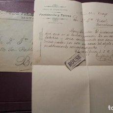 Facturas antiguas: MATARÓ - ANTIGUA FACTURA CON SOBRE 1912 FÁBRICA DE GÉNEROS DE PUNTO DE FONTDEVILA Y TORRES . Lote 183404751