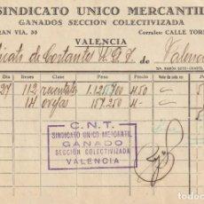 Facturas antiguas: RECIBÍ SINDICATO ÚNICO MERCANTIL - (CNT-AIT) - GANADOS SECCIÓN COLECTIVIZADA (1937-38 (GUERRA CIVIL). Lote 183559876