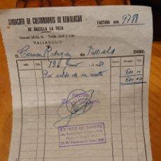 Facturas antiguas: VALLADOLID, FACTURA CULTIVADORES DE REMOLACHA,1950,ORIGINAL. Lote 184476728