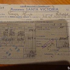 Facturas antiguas: VALLADOLID, FACTURA AZUCARERA SANTA VICTORIA, 1949,ORIGINAL Y BUEN ESTADO. Lote 184477181