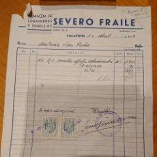 Facturas antiguas: VALLADOLID, FACTURA SEVERO FRAILE, ORIGINAL, AÑOS 50. Lote 184477335