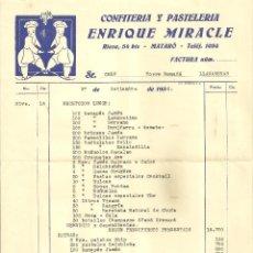 Facturas antiguas: 2122.- CONFITERIA Y PASTELERIA ENRIQUE MIRACLE-MATARO-FACTURA PARA LA TORRE ROMAÑÁ DE LLAVANERAS. Lote 184560250