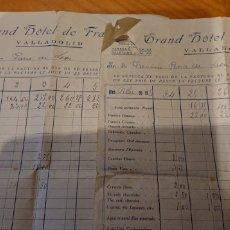 Facturas antiguas: VALLADOLID, LOTE DOS FACTURAS GRAN HOTEL DE FRANCIA. AÑOS 20. BUEN ESTADO.. Lote 186060998