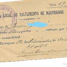 Facturas antiguas: TARRAGONA - AÑO 1907 - RECIBO JUNTA LOCAL DE SALVAMIENTO DE NÁUFRAGOS - 1 PESETA MENSUAL. Lote 186101136
