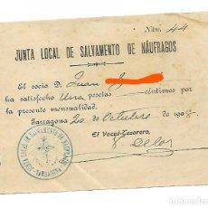 Facturas antiguas: TARRAGONA - AÑO 1908 - RECIBO JUNTA LOCAL DE SALVAMIENTO DE NÁUFRAGOS - 1 PESETA MENSUAL. Lote 186101238