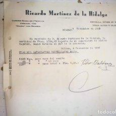 Facturas antiguas: FACTURA BILBAO 1940 CARBONES MINERALES Y VEGETALES ANTRACITA COK CRASKA PARA BRASEROS RICARDO MARTÍN. Lote 187389353