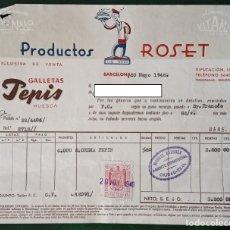 Facturas antiguas: FACTURA PRODUCTOS ROSET, BARCELONA. GALLETAS PEPIS. FECHADA EN 1946. Lote 187416031